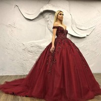 Puffy Burgundy Quinceanera Dresses Beaded Appliques V neck Tulle Off Shoulder Prom Dresses Ball Gowns Dress 15 Birthday