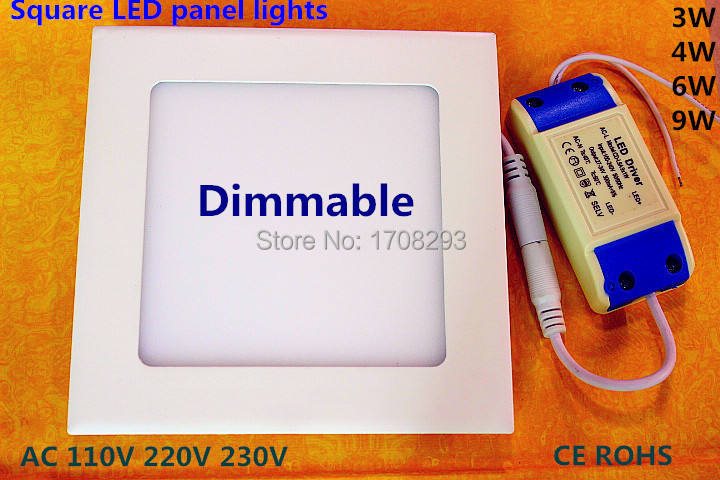 DHL10PCS Square LED Panel Light 6W9W12W15W Dimmable Ultra-thin,Flush mounting,white/Natural White/warm white AC85-265V CE ROHS