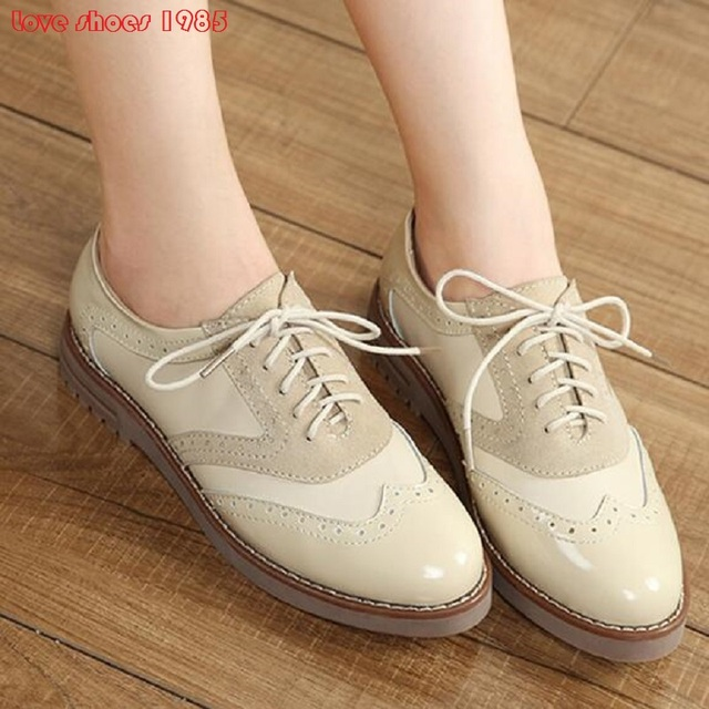New 2016 Hot Sale Stars Womens Flats Round Toe Patent Leather Platform Shoes Oxford Lace up Derby Shoes Size 34-39 Brogue Shoes
