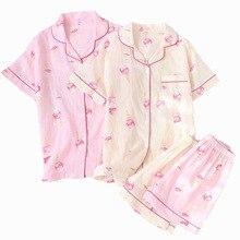 Ensemble pyjama printemps et été pour femme, vêtements de nuit en coton, imprimé crème glacée, manches courtes et Shorts, 100% gaze, confort de maison