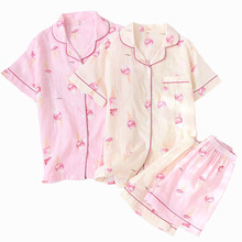 Spring And Summer Ladies Pajamas Set Cartoon Ice Cream Printed Short Sleeve+Shorts 100% Gauze Cotton Sleepwear Comfort Homewear