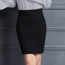 Falda lápiz Mujeres 2017 Elástico de Talle Alto Delgado Caderas Rojo negro Formales Saias Feminino Señora de la Oficina OL Bodycon Faldas Plus tamaño