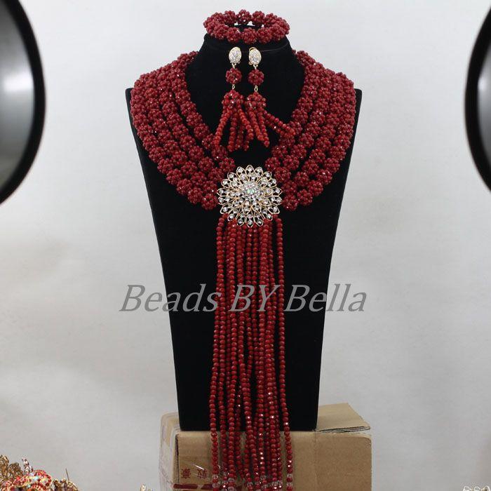 Burgundy African Wedding Beads Jewelry Set Crystal Beads Balls Jewellery Nigerian Fashion Beads Necklace Free Shipping ABF688Burgundy African Wedding Beads Jewelry Set Crystal Beads Balls Jewellery Nigerian Fashion Beads Necklace Free Shipping ABF688