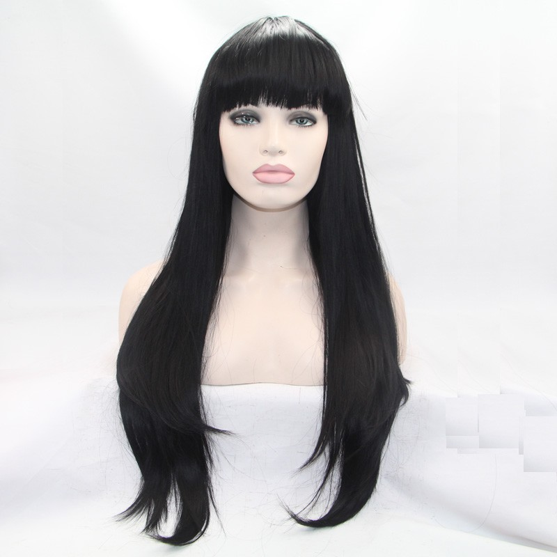Sylvia Natural Black Hair Wig Long Straight Synthetic Lace Front Wig With Bangs Heat Resistant Fiber