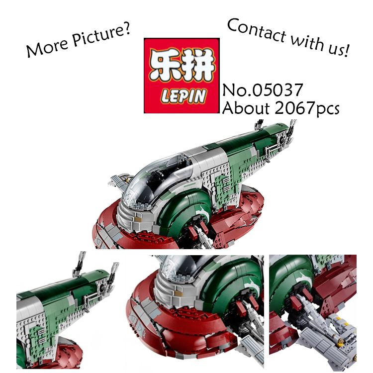 LEPIN STAR WARS 05037 UCS Slave I Slave NO.1 Model 2067pcs Building Block Bricks Toys for children Kits figures Compatible 75060 in stock lepin 05037 star classic series wars slave ucs i slave no 1 model 2067pcs building block bricks toys 75060 boy gifts