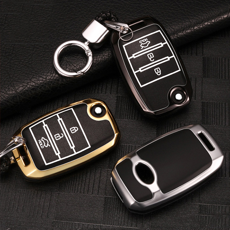 Zinc alloy+Leather Car Remote Key Case Cover For Kia Rio K2 Sportage 2018 2019 K3 K4 K5 Optima Ceed Sorento Cerato Car styling image