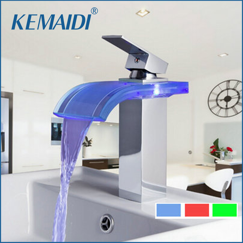 KEMAIDI Waterfall Basin Luxury LED Light Bathroom Chrome No Need Battery Deck Mount Tap Single Handle Sink Torneira Mixer Faucet стоимость