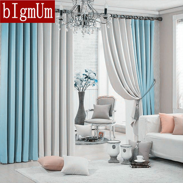New Arrival Window Curtains For Living Room +Voile / Sheer 2 Colors  Combined Blackout Shade