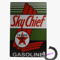 Vintage Sky Chief Gasoline Vintage Style Metal Tin Motor Oil Advertising A8