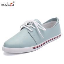 2017 women Flat Shoes genuine leather  oxfords Shoes women Casual Lace Up Leather shoes  Ladies Flat Shoes ML01