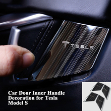 1set Fashion Car Inside Door Handle Decoration Cover Stainless Steel Sticker Styling Accessories for Tesla Model S 2014-2018