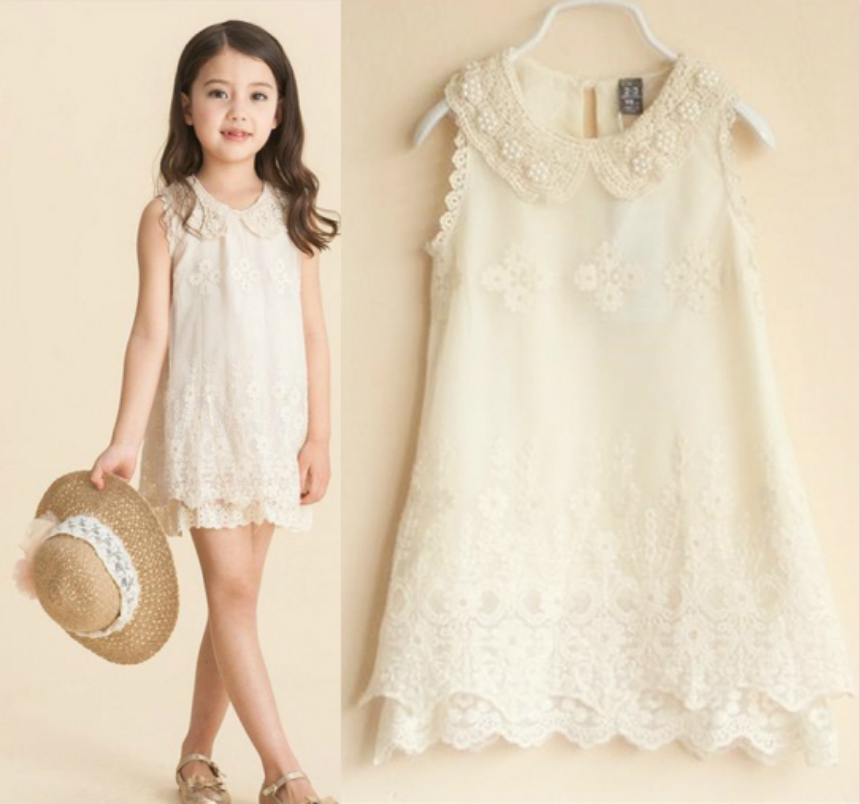 Hot sale!! Baby Girls Dress Kids Pearl Collar 3D flower Sleeveless Vest party dresses Lace Princess Dress for 2-8 years children
