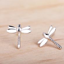 Funmor Dragonfly 925 Sterling Silver Stud Earrings Exquisite Ear Jewelry Women Girls Daily Holiday Decoration Accessories Gifts