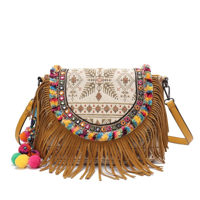 Women Hippie Bohemian Handbag Lace Tassel Beading Embroidery Bag Shoulder Handmade Cotton National Ethnic