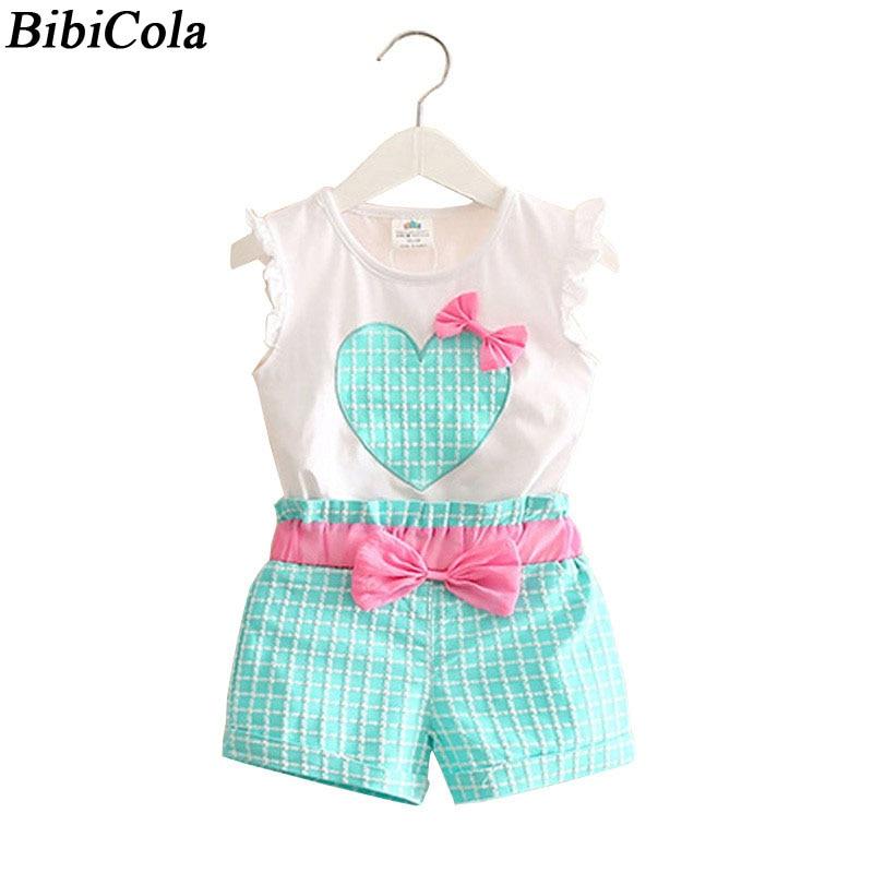 0c1cc81b9 BibiCola new summer Baby girls Bow Clothing Set infant Children Suit ...