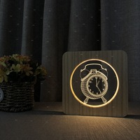 The alarm clock 3D design Wooden acrylic night for club cafe room store decor bedroom table lamp