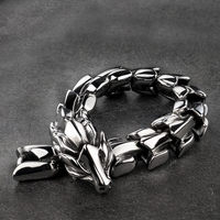 High quality Dragon Black vintage punk bracelet for men stainless steel fashion Jewelry hippop street culture mygrillz