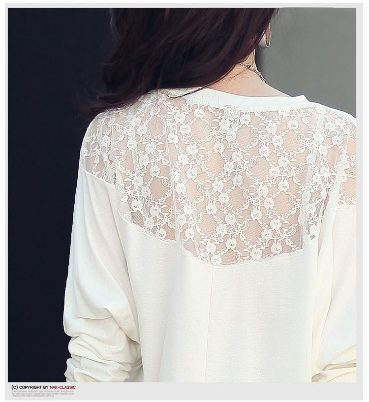 HTB1SZY5NXXXXXazXFXXq6xXFXXX3 - Casual Lace Blouse Batwing Sleeve Shirt Women Cotton Clothing