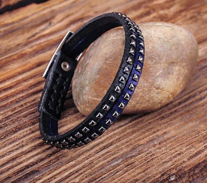G553 azul Rock Cool Chic tachonado de una sola envoltura de cuero pulsera nueva