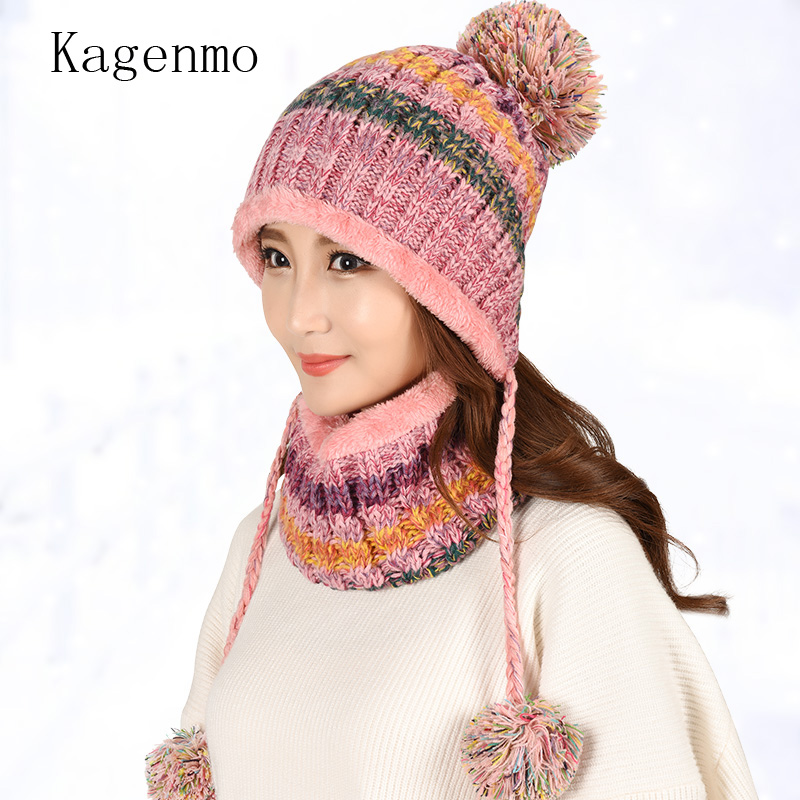 Kangemo Thick Wool Knitting Winter Cap Scarf Women Warm Winter Cap Outdoor Keep Thermal Twinset Fashion Wool Female Sets