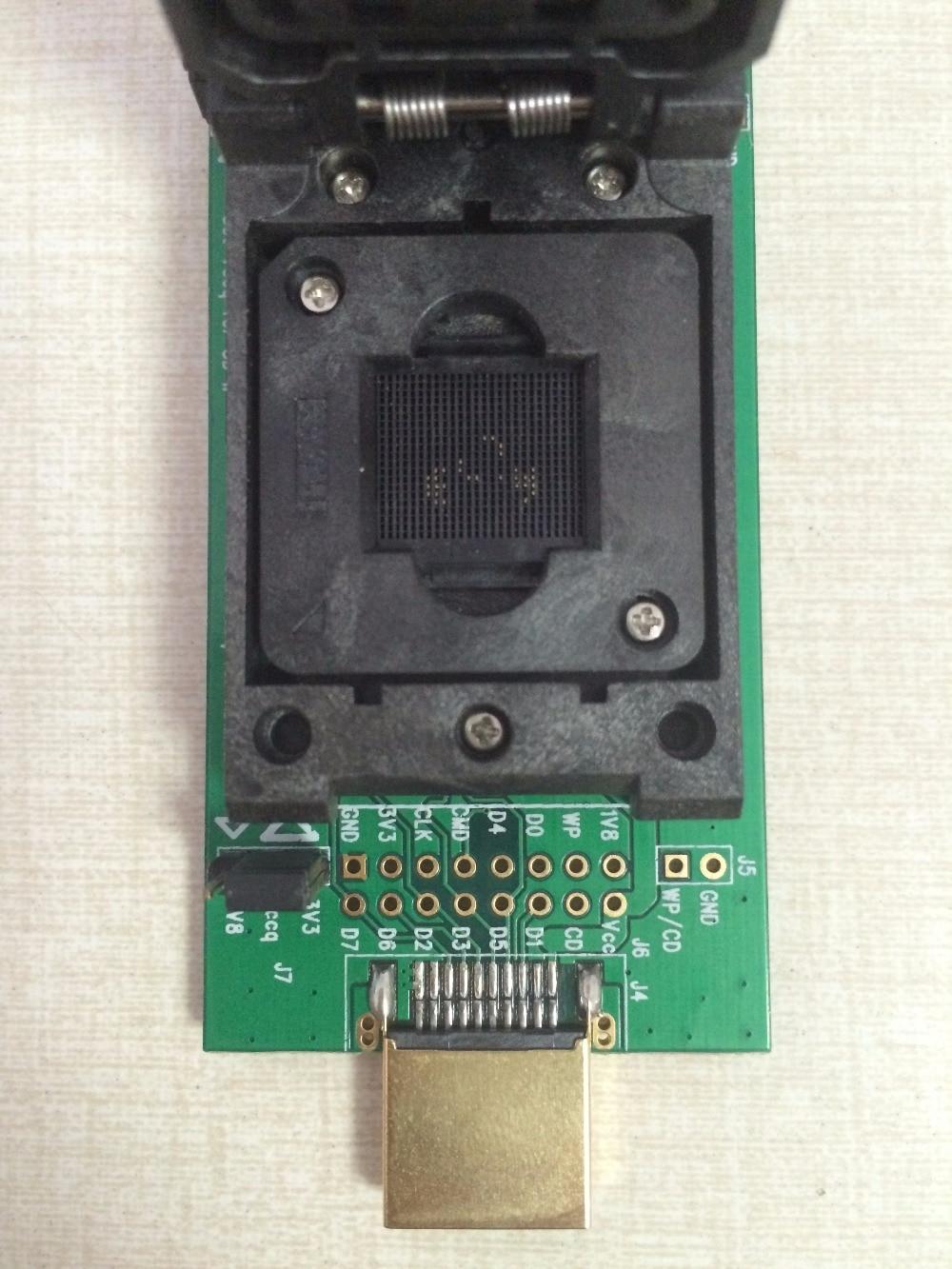 Купить с кэшбэком eMMC socket test flash chip eMMC153 socket eMMC169 BGA169 socket BGA153 Android phone flash data backup data recovery SD HDMI