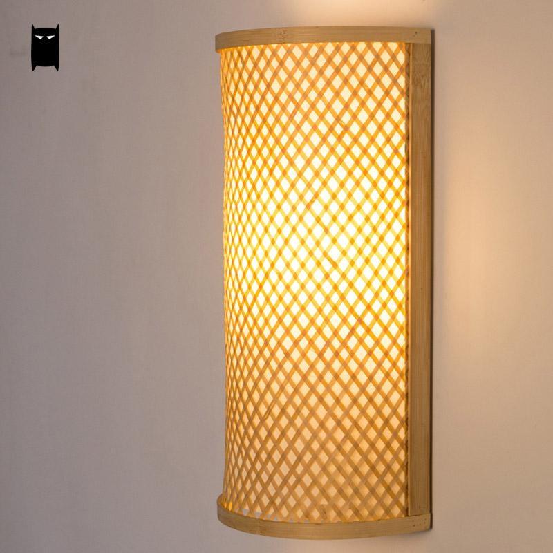Bamboo Wicker Rattan Shade Tunnel Wall Lamp Fixture Rustic Asian ...