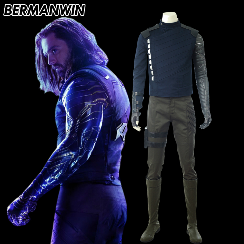 BERMANWIN High Quality Avengers Infinity War Cosplay Winter Soldier Cosplay Costume Halloween Bucky Barnes Costume For Adult
