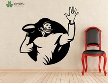 YOYOYU Wall Decal American Football Rugby Player Stickers Interior Window Home Art Decor Removable Boys Bedroom Mural SY773
