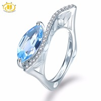 Hutang Gemstone Jewelry 925 Sterling Silver Natural Marquse Sky Blue Topaz Engagement Ring Fine Fashion Stone