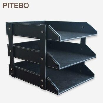 PITEBO 3-layer leather office file document tray case rack desk file document organizer holder