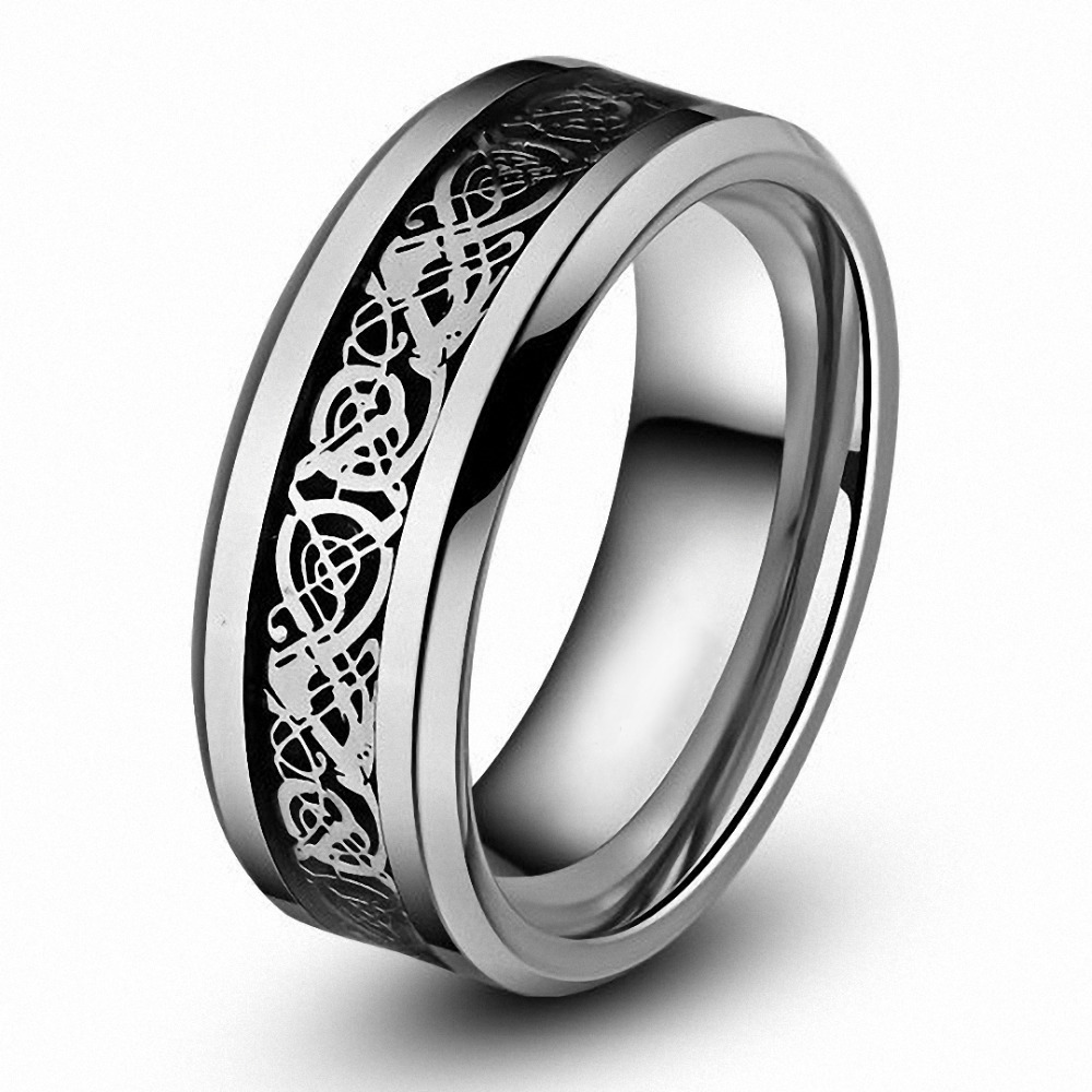 Men Engagement Ring 8mm Celtic Tungsten Carbide Dragon Ring for Men
