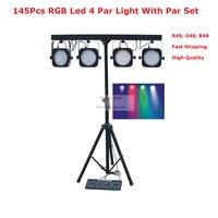 1Pcs Lot Led Par Kits Newest 80W LED Flat Par Lights With Light Stand And DMX