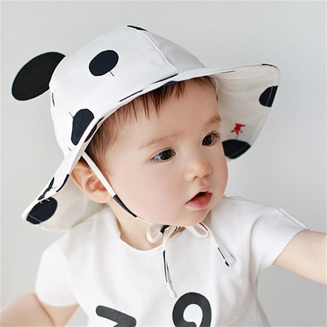 6fbe6ad7a5d 1-3 Years Baby Toddler Sun Hats Mouse Ear Dots Bucket Cap Fisherman Hat  Infant Girls Boys Summer Beach Caps Newest Korean Style