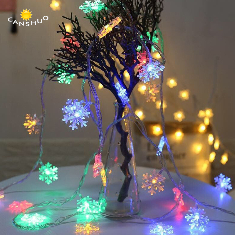 все цены на Multicolor Led snowflake Christmas Fairy string lights 10m waterproof Garland lamps for Holiday Home decoration 220V EU Plug