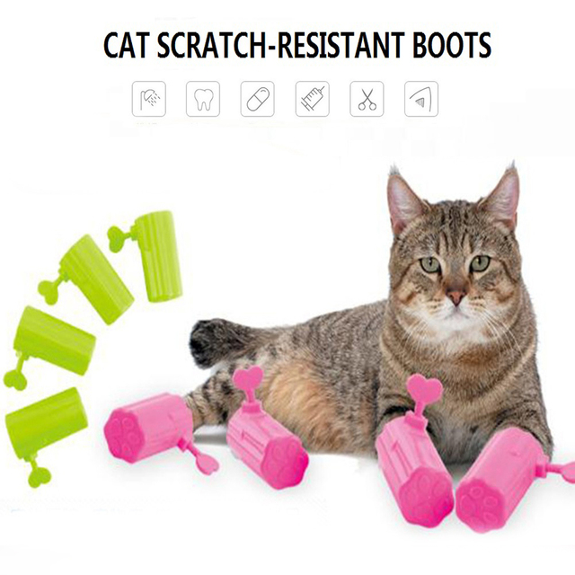 4pcs Cat Anti Scratch Tools Cat Durable Comfortable Boots Prevent Scratching  Pet Paw Home Furniture Protector
