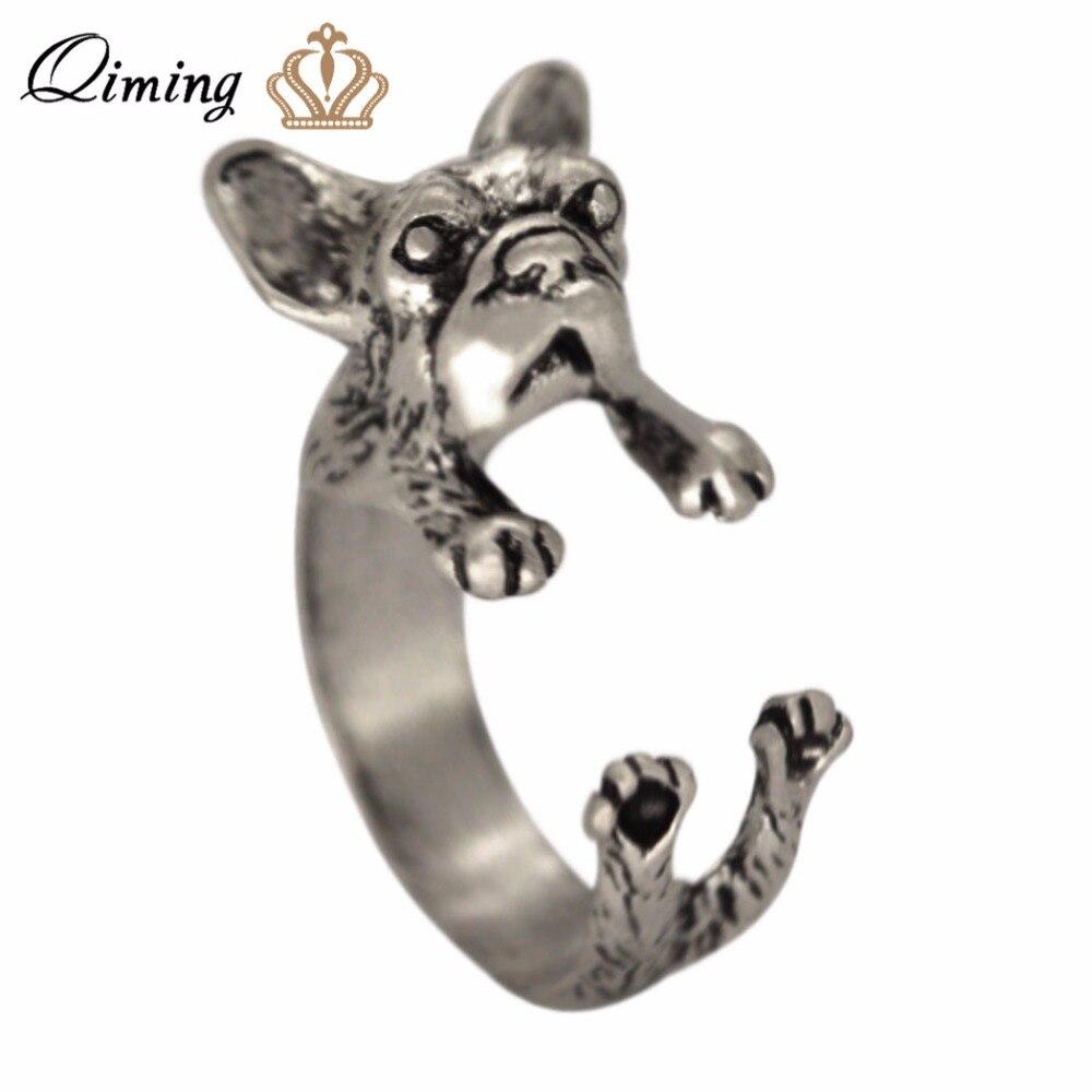 2017 Neue 3d Tier Französisch Bulldog Ring Männer Und Frauen Tier Einstellbare Ring Französisch Hund Vintage Ring Für Mädchen Geschenk