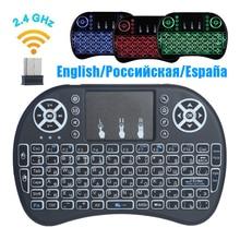 Россия Испания английский мини 2,4 ГГц беспроводная клавиатура с тачпадом для Smart Android tv Box с подсветкой пульт дистанционного управления для set top box
