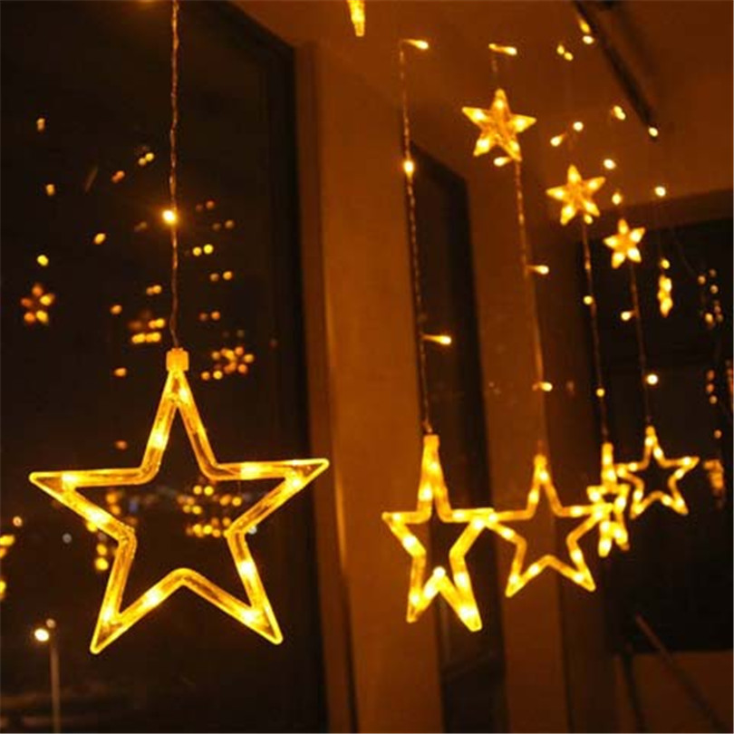 Trecaan LED Window Curtain lights Stare 2.5M 12 Star String Fariy - Holiday Lighting