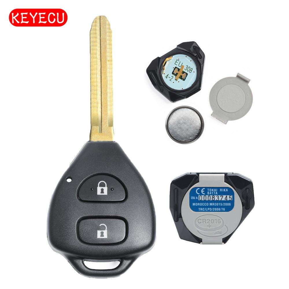 Keyecu Remote Key Fob 2 Button 433MHz 4D70 Chip for Toyota Yaris 2005 2006 2007 2008 2009 2010 2011 B41TA|Car Key| |  - title=
