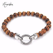 Thomas Style TIGER'S EYE Bead Elastic Bracelet with Circle Clasp, European Rebel Heart Jewelry for Men and Women TS B182