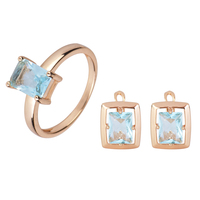 Free Shipping Rectangle Blue Crystal Gold Plated Earrings Ring Set T126
