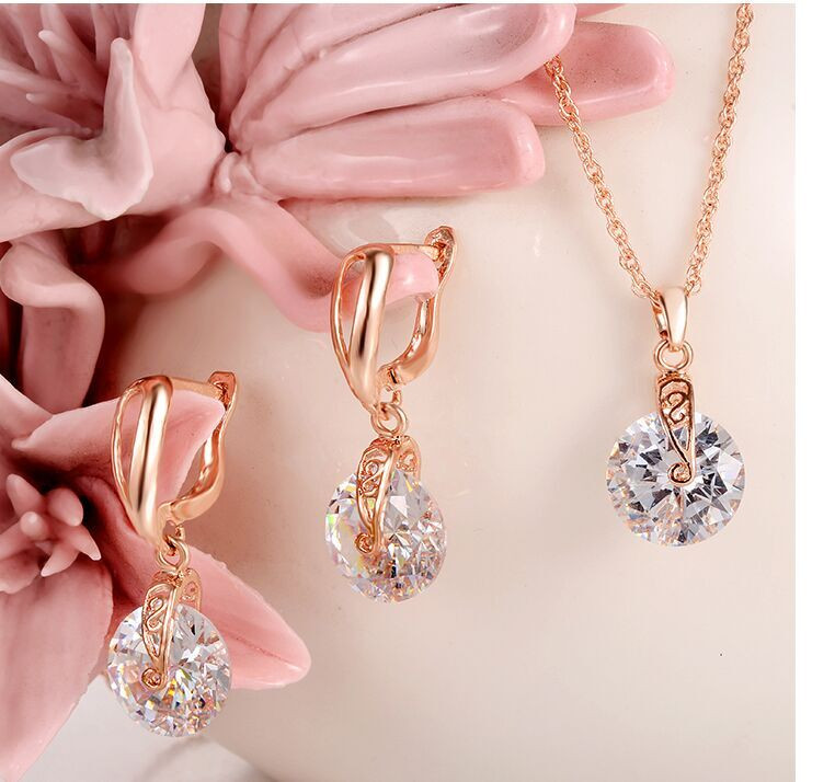 Hesiod 2pcs/Lot Necklace Earring Jewelry Set Gold Color Alloy Round Crystal Hollowed Women Jewelry Sets