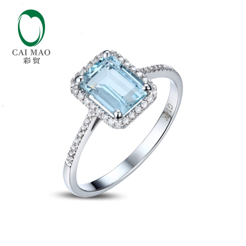 1.52ct Emerald Cut 6x8mm Blue Aquamarine Pave Diamond 14k Gold Engagement Ring