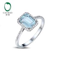 1.65ct Emerald Cut 6x8mm Blue Aquamarine Pave Diamond 14k Gold Engagement Ring