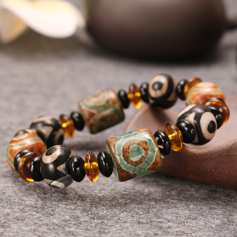 Sangsy Free Shipping Mixed Natural Round Beads Crystal with Traditional Tibetan Charm Carnelian Stretch Bracelet Lucky Bracelet in Strand Bracelets from Jewelry Accessories