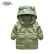 CROAL CHERIE 80-130cm Long Style Down Jacket For Girl Kids Winter Jackets And Coat For Boys Cute Bear Ear Children's Parkas