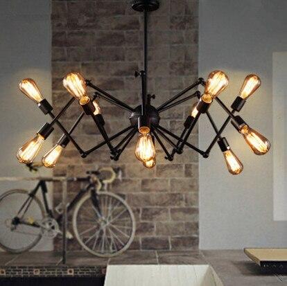 2018 Loft Vintage Restaurant Bar Fer Lustre Lumière Américain Pays Expansion Chambre Bureau Araignée Suspendue Lampe Luminaire