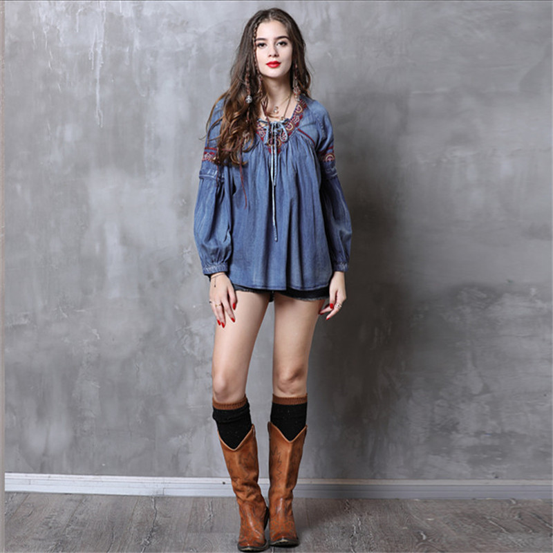 Vintage Women   Blouse     Shirt   2018 Autumn New Denim V Neck   Shirt   Women Long Lantern Sleeve Embroidery Loose   Blouses   Blusa Feminina