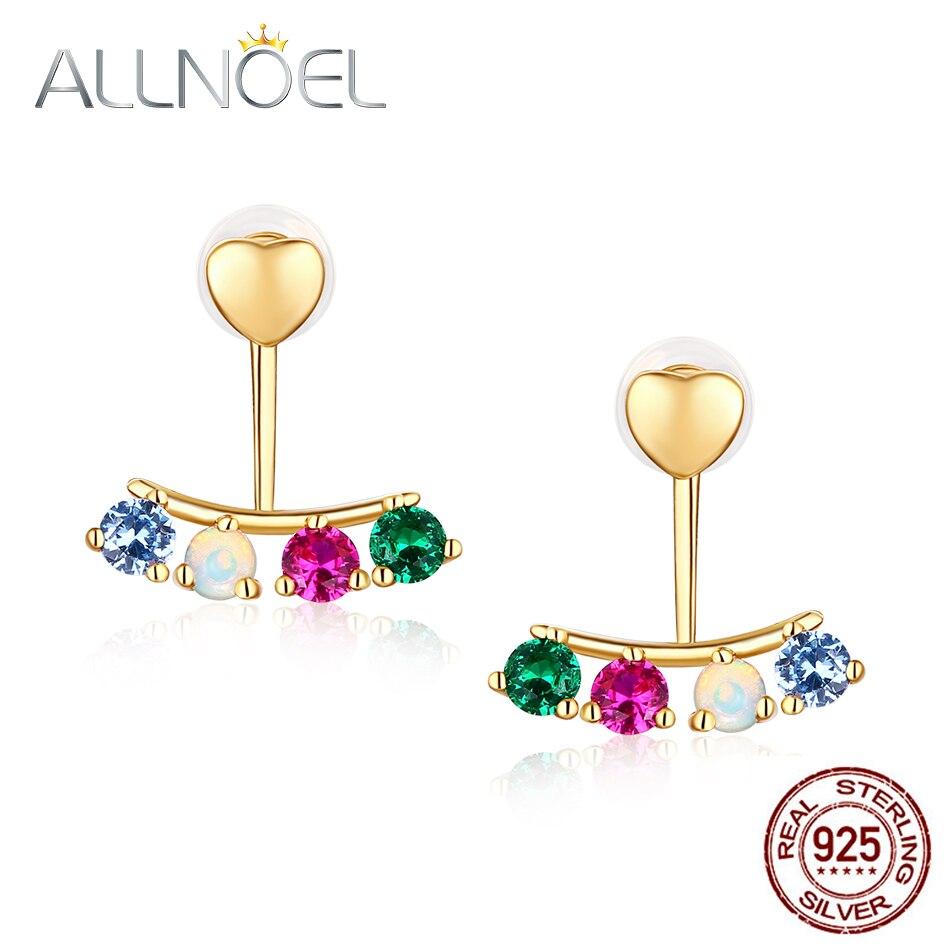 ALLNOEL Opal Ruby Zircon Blue Spinel Earrings Multi Gems Stud Earrings For Women Real 925 Sterling Silver Jewelry Colorful Stone