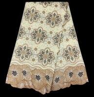 Gratis verzending (5 yards/pc) mode geborduurde voile zwitserse katoen kant stof groothandel afrikaanse kant stof voor jurk CLS02
